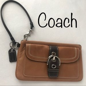 COACH EUC Large Soho Wristlet, 2Tone: Tan/Brown